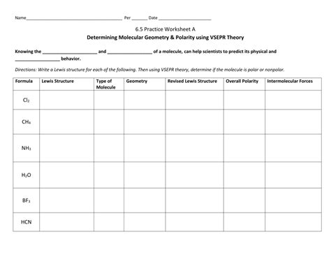 Vsepr Worksheet With Answers Worksheets For All  Download And Share Worksheets  Free On