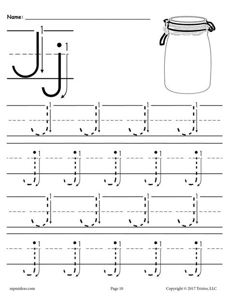 free printable letter j tracing worksheet with number and