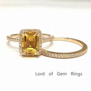 669 emerald cut citrine engagement ring sets pave diamond With lord of the rings wedding ring sets