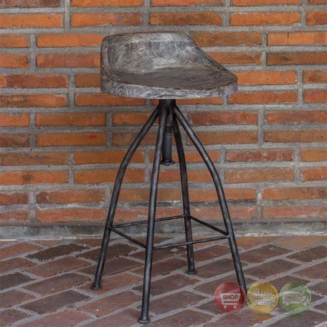 wood and iron bar kairu rustic wood iron bar stool with industrial swivel