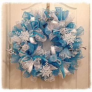 Snowflake Turquoise and Silver Deco Mesh from
