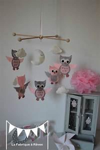 Mobile Chambre Bébé : mobile enfant b b fille nuage toiles hiboux chouettes gris rose blanc chambre enfants ~ Teatrodelosmanantiales.com Idées de Décoration