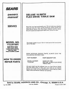Model No  113 241691  Deluxe 10 Inch  Owners Manual