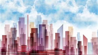 Pastel Town Abstract Wallpapers Backgrounds Cool Skyscrapers