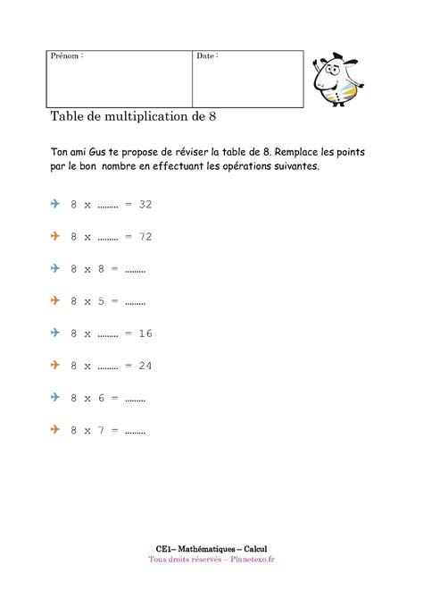 Exercice Corrigé Pour Le Ce1  Table De Multiplication De 8
