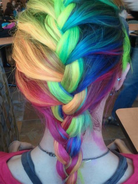 Rainbow French Braid Hair Colors Ideas