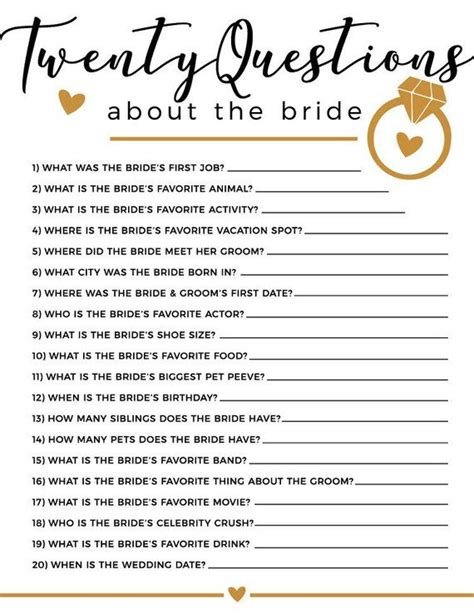 wedding shower questions 20 questions bridal shower products in 2019