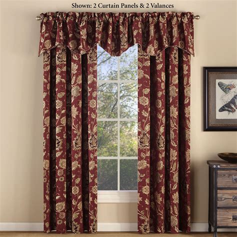 Jacobean Style Floral Eyelet Curtains by Melbourne Jacobean Floral Burgundy Chenille Window Treatment