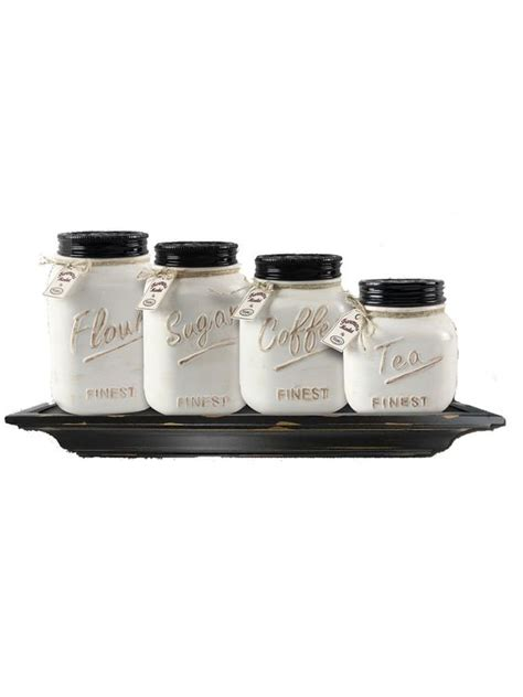 country canister sets for kitchen white canister jar set of 4 jars 4 in and