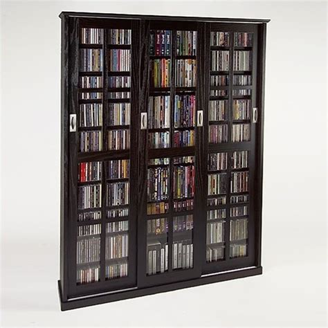"61"" Triple Cd Dvd Wall Media Storage Cabinet In Espresso"