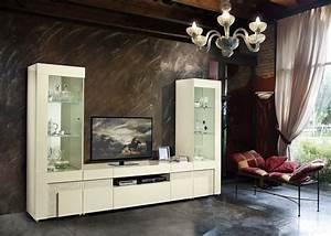 Italian beige high gloss dining room furniture set for High gloss furniture for living room