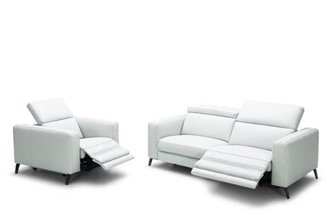 contemporary sofa and loveseat divani casa roslyn modern white leather sofa set w recliners