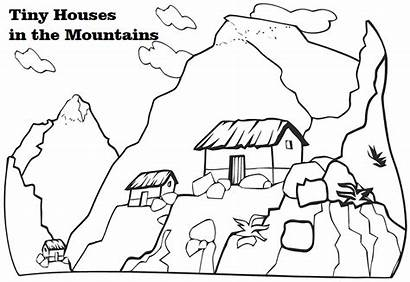 Coloring Mountain Mountains Pages Scenery Tiny Houses