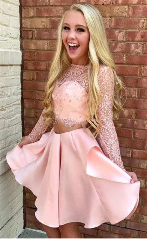 Pink Lace Satin Two Piece Homecoming Dresses Bateau Neck ...