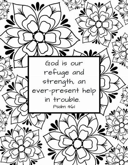 Bible Coloring Verse Printable Psalm God Strength