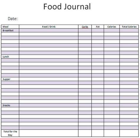 food diary template 21 free food journal template word excel formats