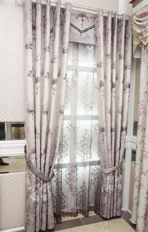 valances and drapes purple floral jacquard polyester custom curtains