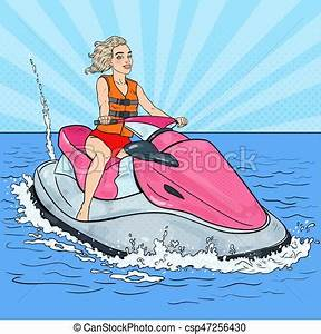 Beautiful woman riding jet ski. water sports. pop art ...