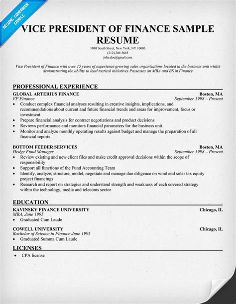 Vp Of Finance Resume by Sle Resume December 2014