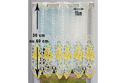 petit rideau cantonniere macrame motif mimosas petit