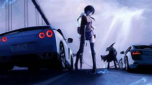 Anime Girls Bridge Cars Guns - WallDevil