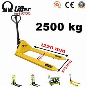 China 2 5t Hydraulic 1220 525 2  4 Wheels Hand Lift Manual