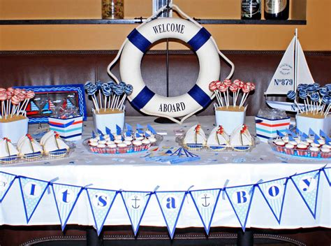Nautical Baby Shower - 31 cool baby shower ideas for boys table decorating ideas