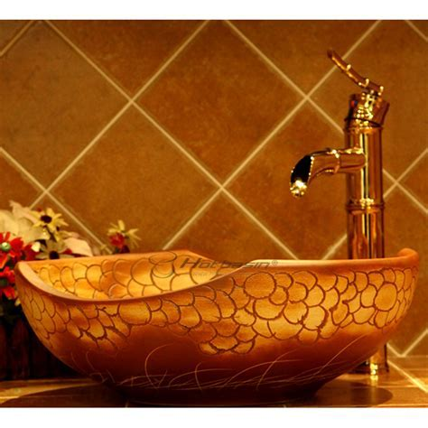 Designer Round Shaped Scale Pattern Upon Mount Vessel Sink
