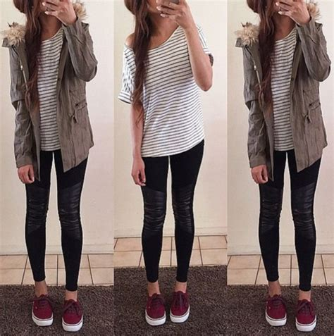 Jacket cute style vans summer spring winter outfits fall outfits burgundy shoes army ...