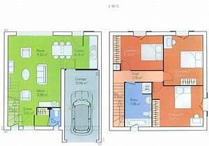 Plan Maison A Etage : plan maison 100m2 a etage g nial plan de maison plain pied 4 avec plan maison 100m2 a etage ~ Melissatoandfro.com Idées de Décoration