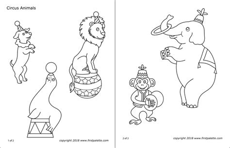 circus animals  printable templates coloring pages