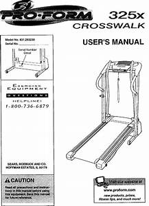 Proform 831293230 User Manual Crosswalk 325x Manuals And