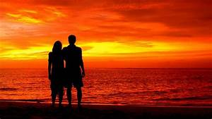 Wallpaper Couple, Silhouette, Romantic, Beach, Sunset, 4K ...