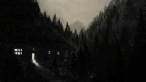 Depressing Home Screen Wallpaper Creepy by Nature Landscape Trees Forest Digital Drawing