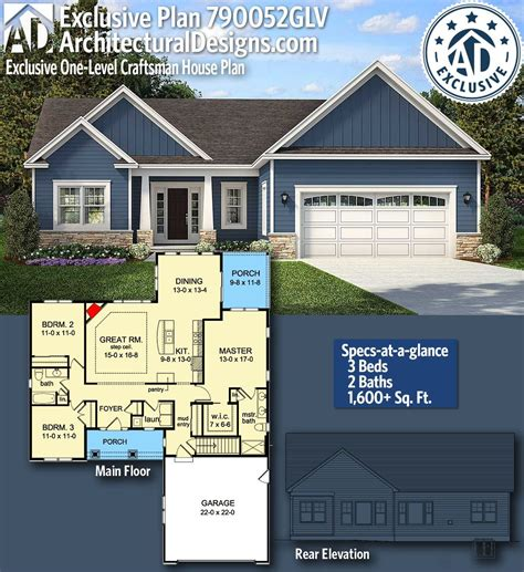 plan glv exclusive  level craftsman house plan homes small cost effective plans