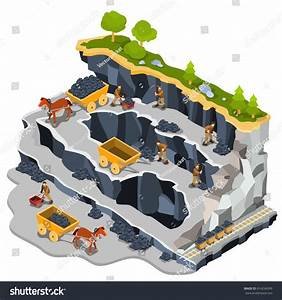 Vector 3d Isometric Illustration Coal Mine Stock Vector