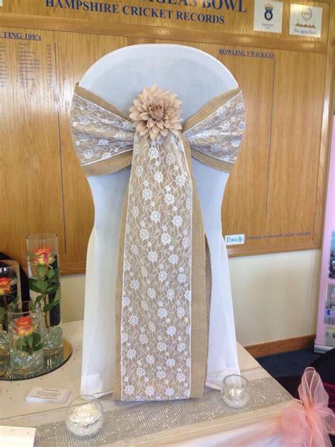 hessian burlap lace wedding chair sash tie the knot