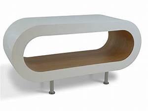 Medium retro white and oak 90cm hoop coffee table tv for Hoop coffee table
