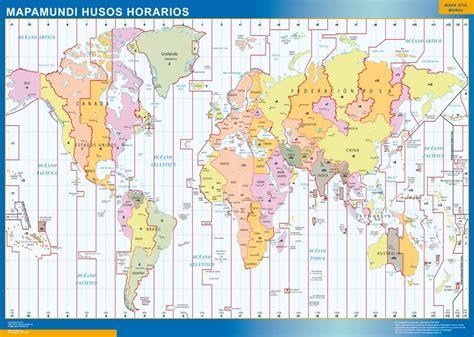 mapamundi husos horarios mapas posters mundo y espa 241 a