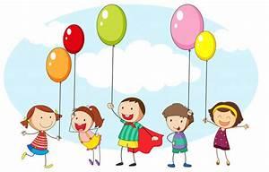 Niños y muchos globos de colores | Descargar Vectores gratis