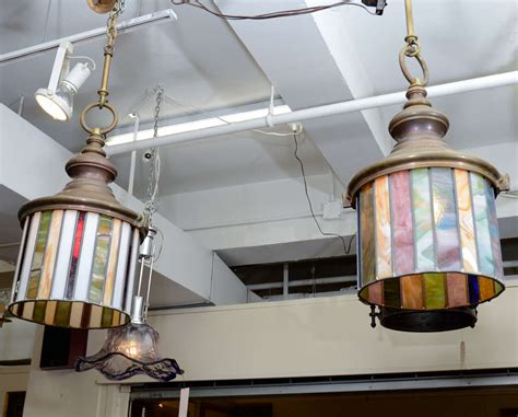 stained glass hanging light fixture pair of arts and crafts stained glass hanging light