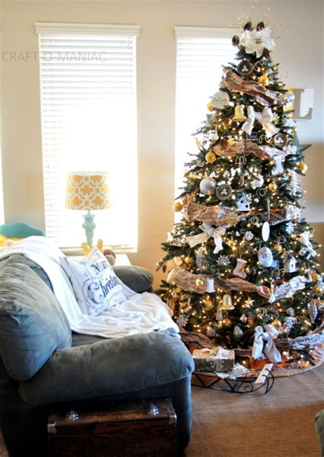 rustic silver  gold tree christmas tree decorating ideas