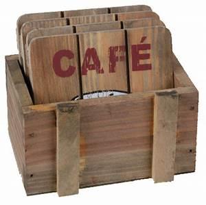 Dessous De Verre Bois : 4 dessous de verre caf en bois avec bo te ~ Teatrodelosmanantiales.com Idées de Décoration