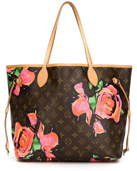 louis vuitton monogram floral tote  brown lyst