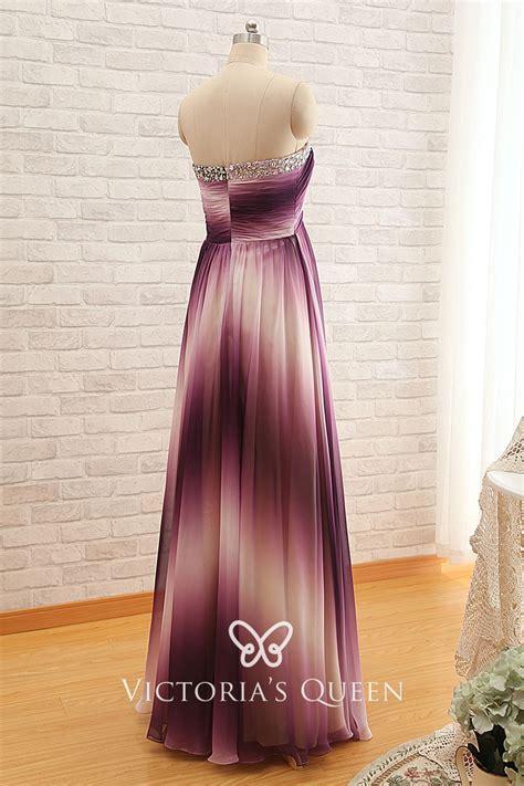 Ombre Purple Chiffon Strapless Beaded Bridesmaid Dress - VQ