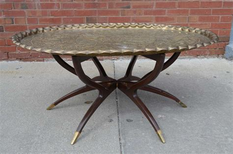 Large Vintage Brass Tray Coffee Table On Midcentury
