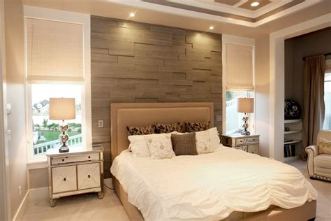 Modern wood accent wall bedroom contemporary with wall treatment wood panels beige roman shade