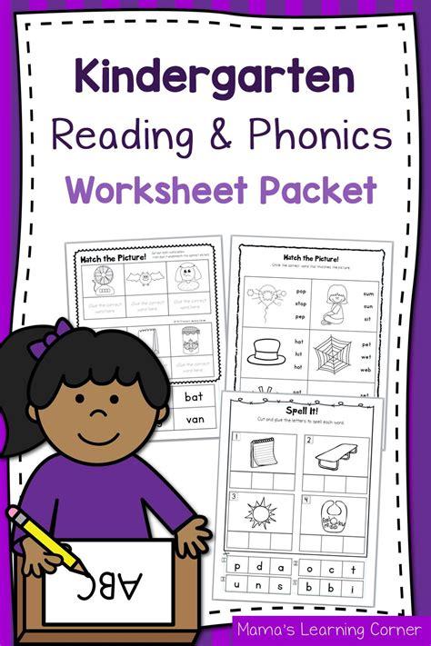 kindergarten reading  phonics worksheet packet mamas