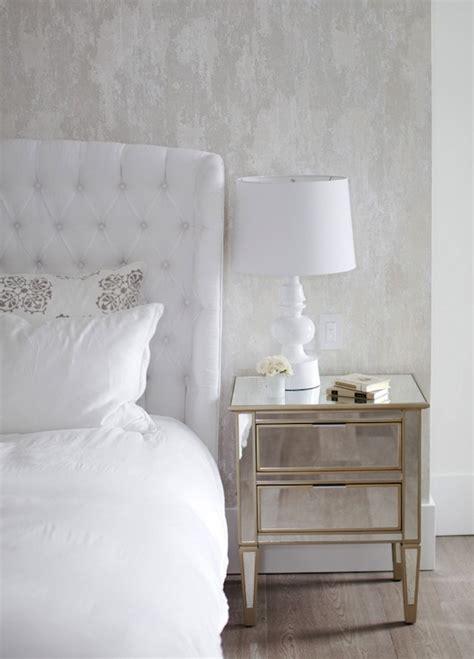 mirror nightstands transitional bedroom  cross
