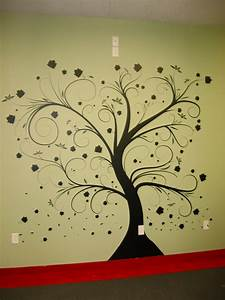 Wall paint stencils tree with beautiful natural dark tree for Interior wall painting ideas stenciling